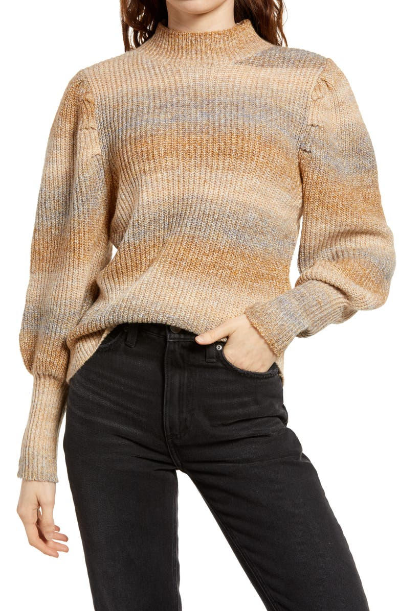 LEITH Stripe Space Dye Sweater, Main, color, OLIVE HONEY SPACEDYE