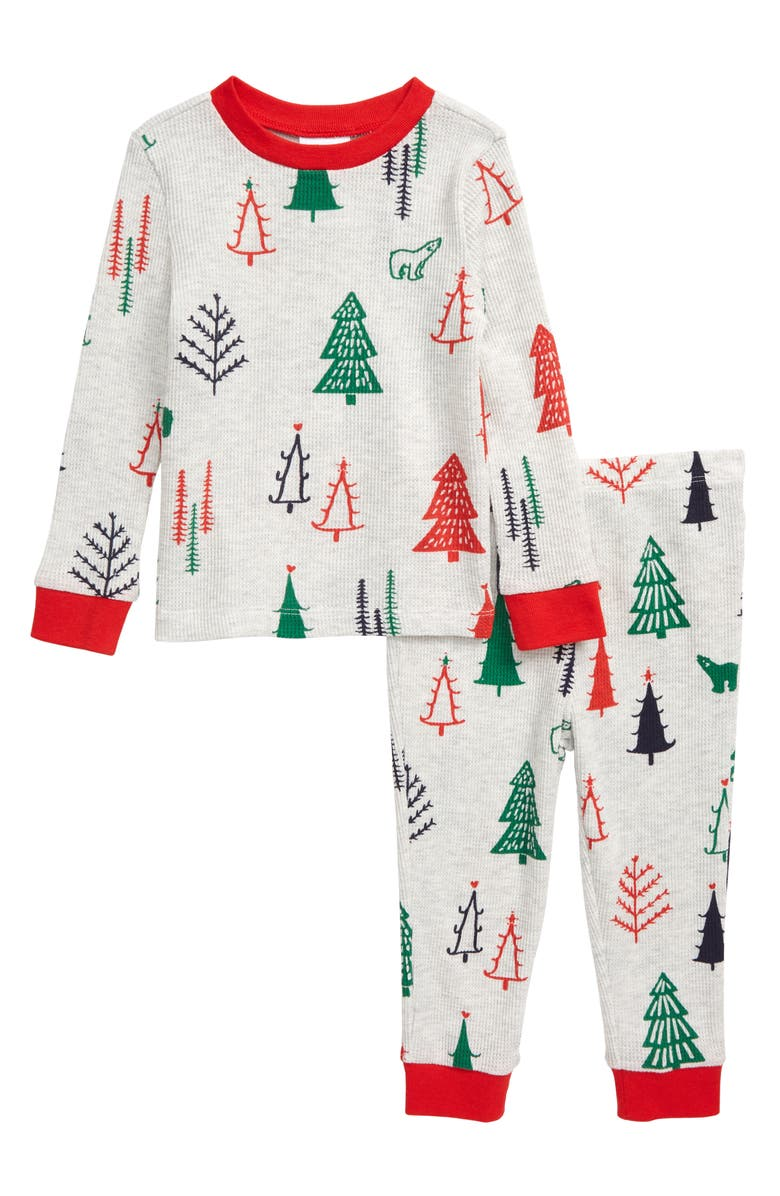NORDSTROM Thermal Fitted Two-Piece Pajamas, Main, color, GREY LIGHT HEATHER FOREST