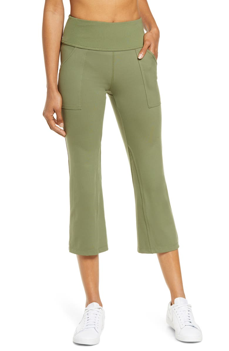 ZELLA Studio Lite Pocket Kick Flare Crop Pocket Leggings, Main, color, OLIVE BRANCH