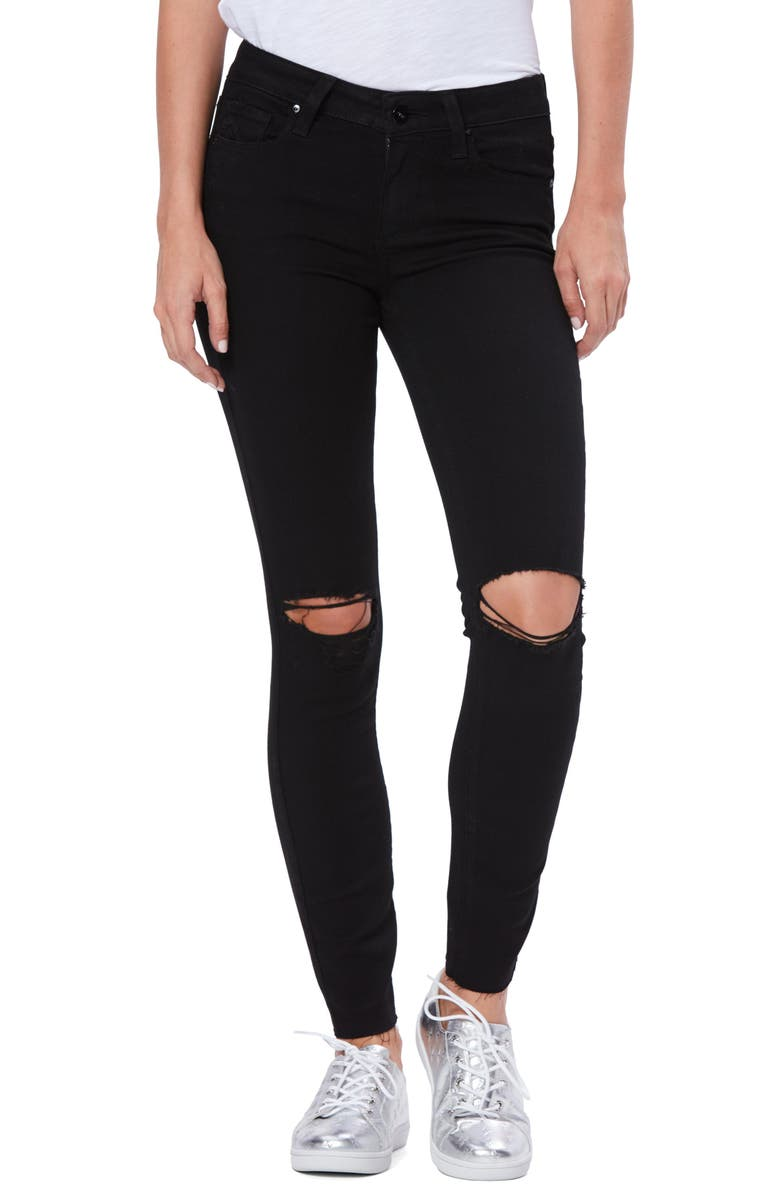 PAIGE Transcend Verdugo Ripped Ankle Skinny Jeans, Main, color, 001