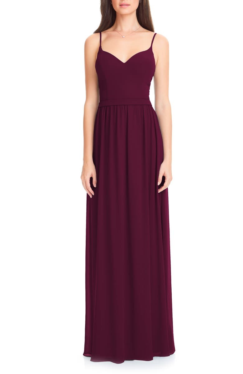#LEVKOFF Chiffon A-Line Gown, Main, color, WINE