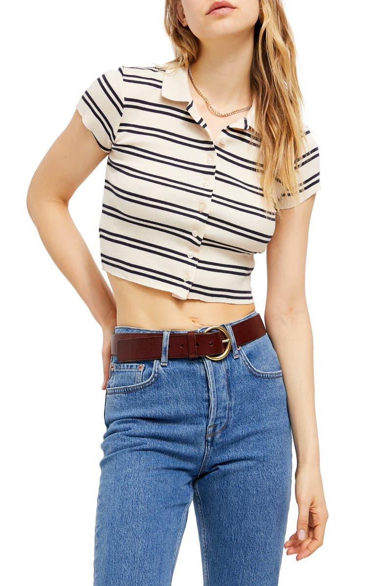 BDG URBAN OUTFITTERS Stripe Button-Up Crop Top, Main, color, ECRU