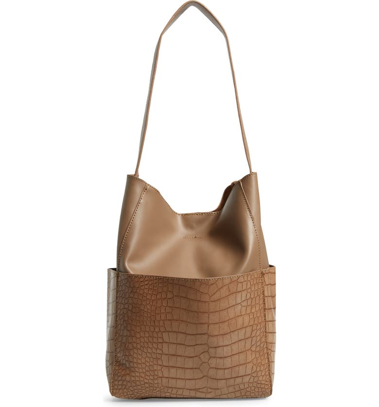 STREET LEVEL Croc Embossed Faux Leather Bucket Bag & Removable Pouch, Main, color, TAUPE