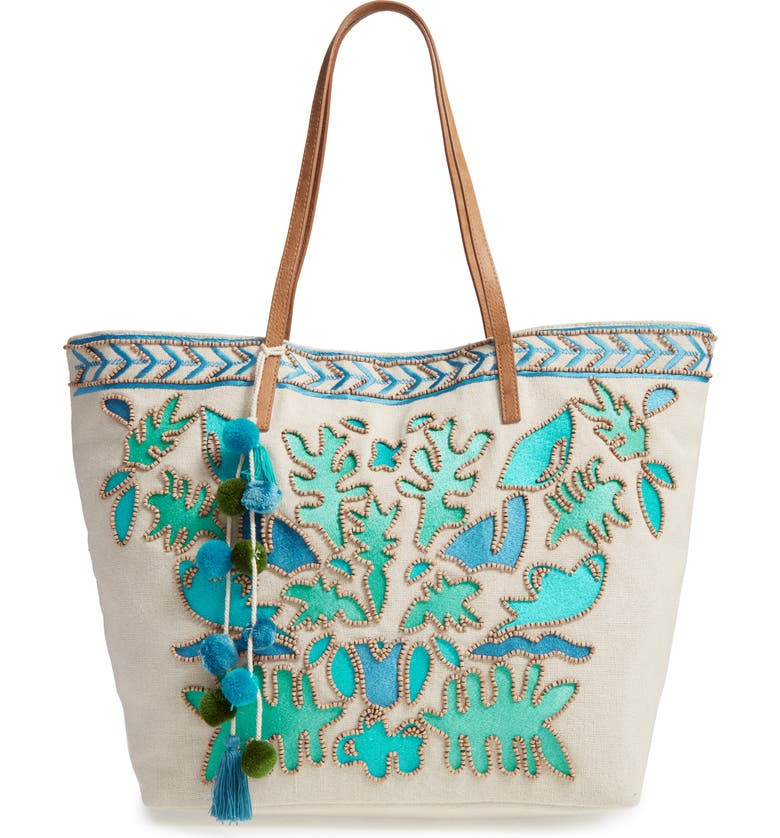 STEVEN BY STEVE MADDEN Embroidered Canvas Tote, Main, color, BLUE MULTI