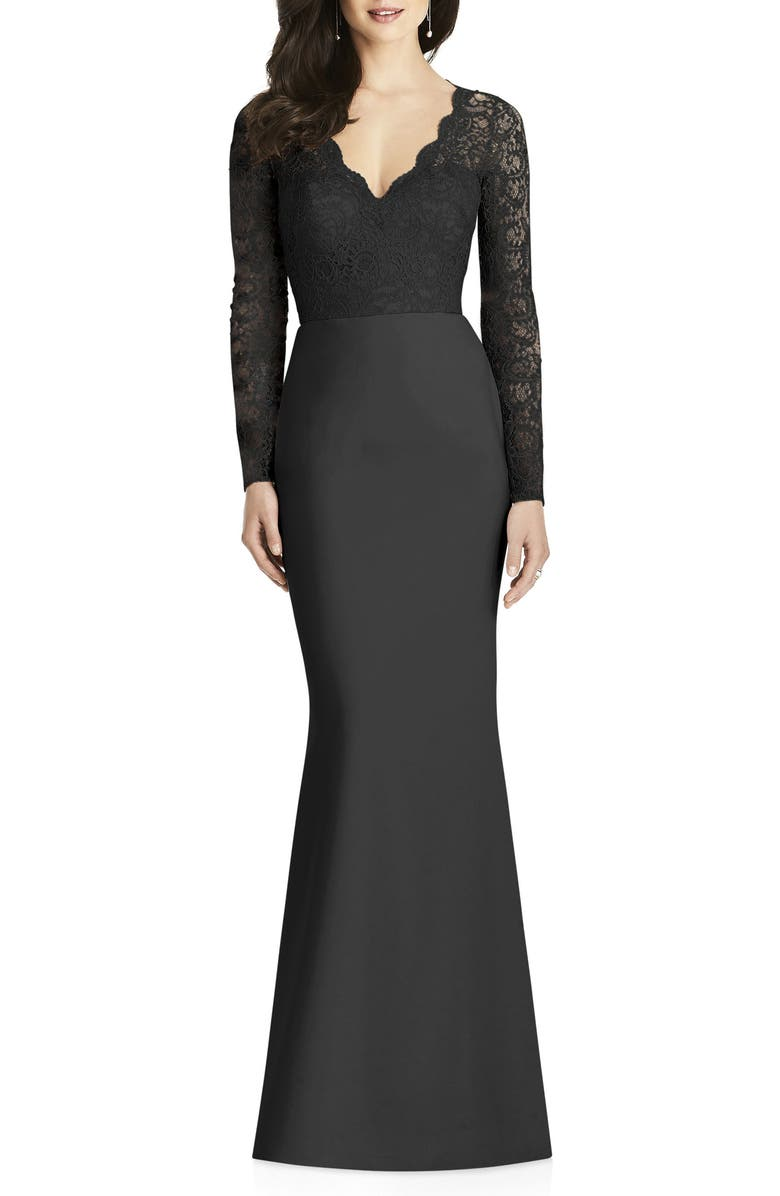 DESSY COLLECTION Long Sleeve Lace & Crepe Trumpet Gown, Main, color, 001