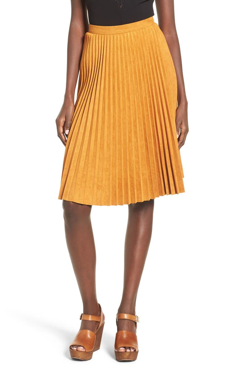 STOREE Pleated Faux Suede Skirt, Main, color, 200