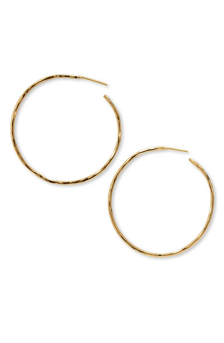 ARGENTO VIVO STERLING SILVER Argento Vivo Hammered Large Hoop Earrings, Main, color, GOLD VERMEIL