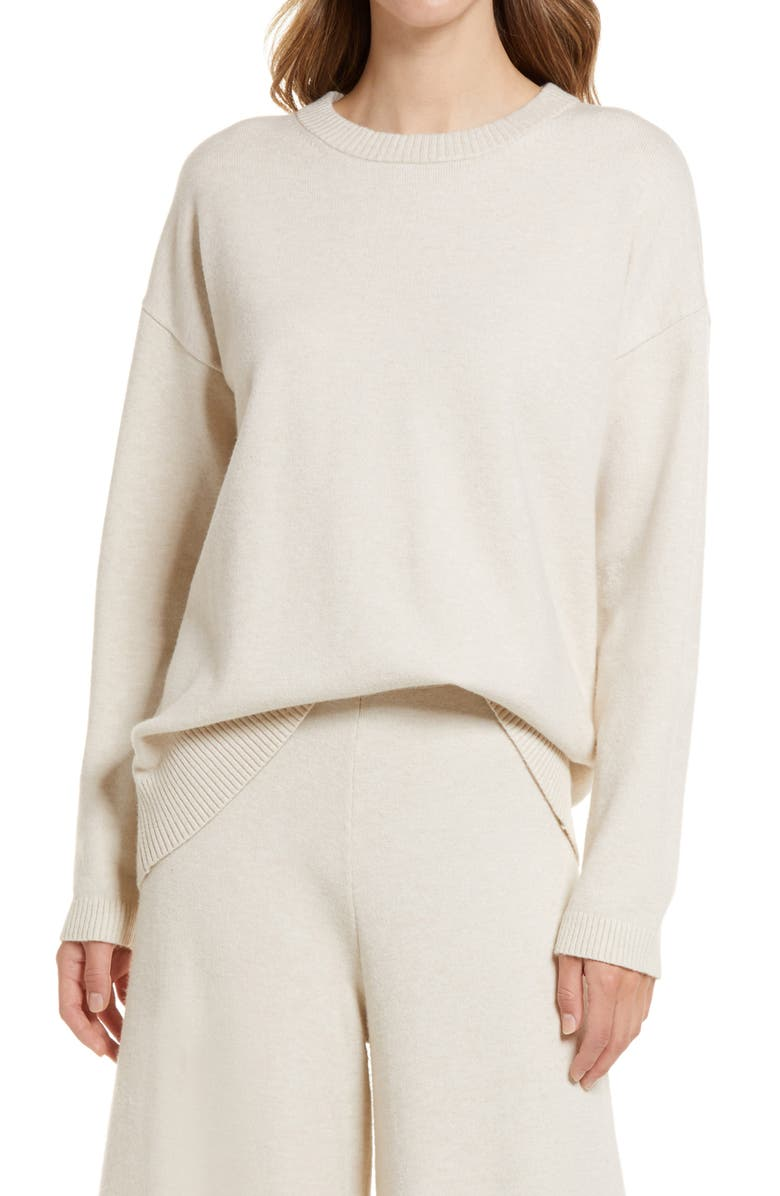 NORDSTROM Relaxed Crewneck Sweater, Main, color, BEIGE OATMEAL LIGHT HEATHER
