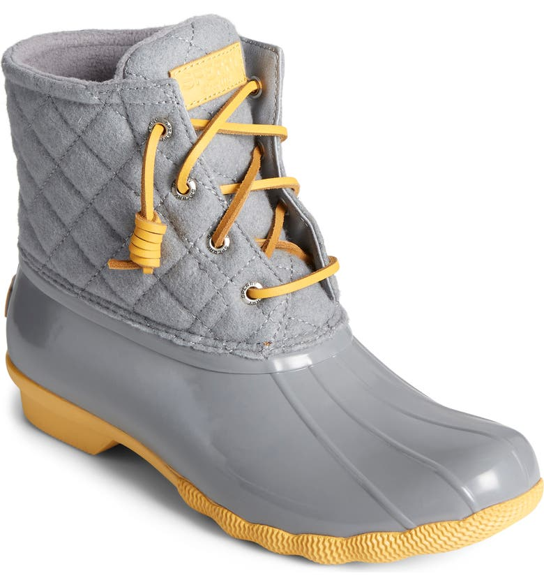 SPERRY Saltwater Quilted Waterproof Rain Boot, Main, color, GREY