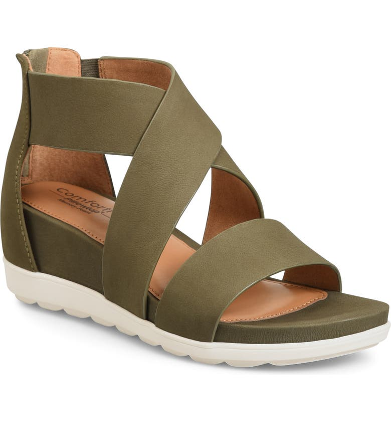 COMFORTIVA Pacifica Strappy Sandal, Main, color, OLIVE NUBUCK LEATHER
