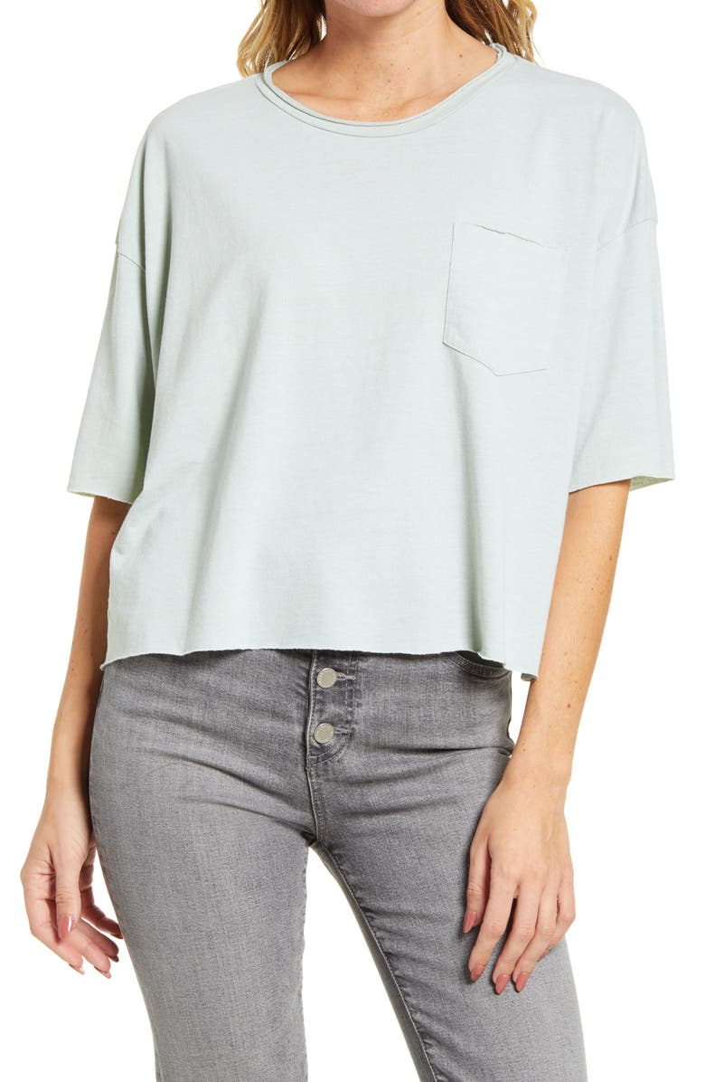 DESERT DREAMER Raw Edge Oversize Tee, Main, color, WASHED SAGE