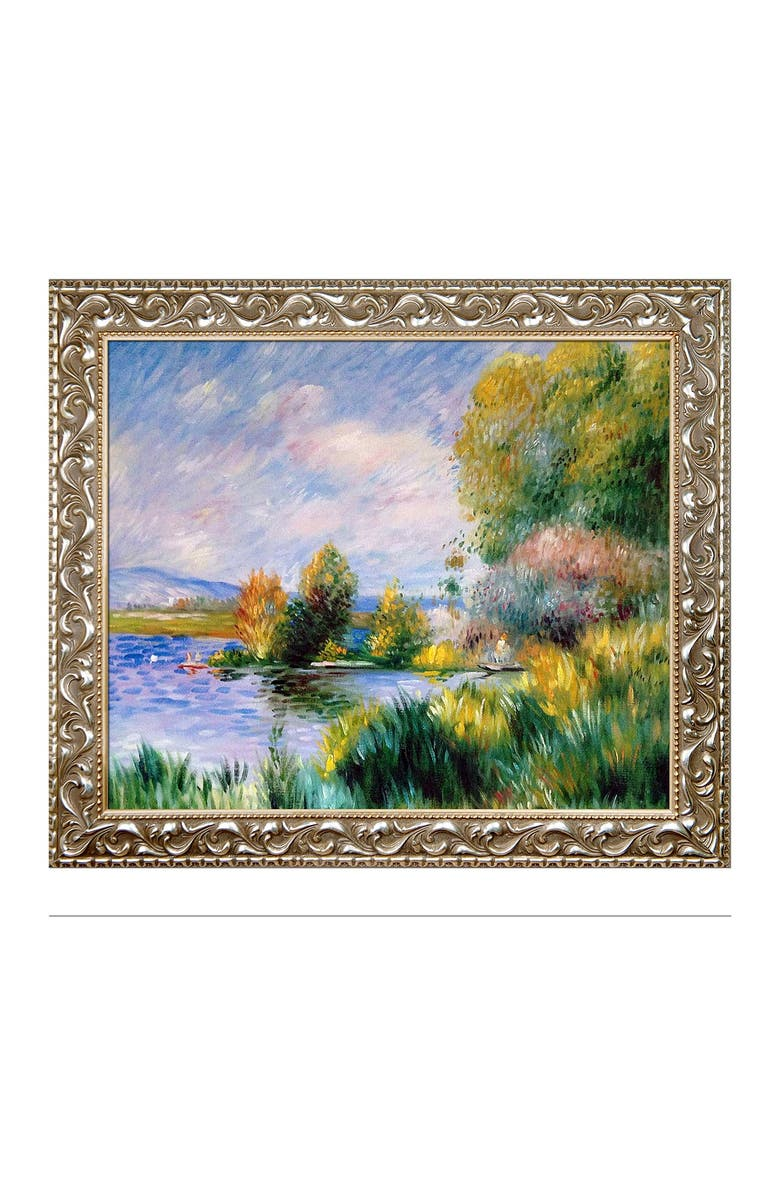 """OVERSTOCK ART Pierre Auguste Renoir """"The Seine at Bougival, 1879"""" Framed Hand Painted Oil Canvas Wall Art, Main, color, MULTI"""