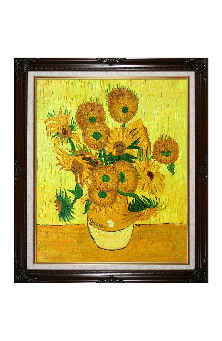 OVERSTOCK ART Vase with Fifteen Sunflowers - Framed Oil Reproduction of an Original Painting by Vincent Van Gogh, Main, color, MULTI
