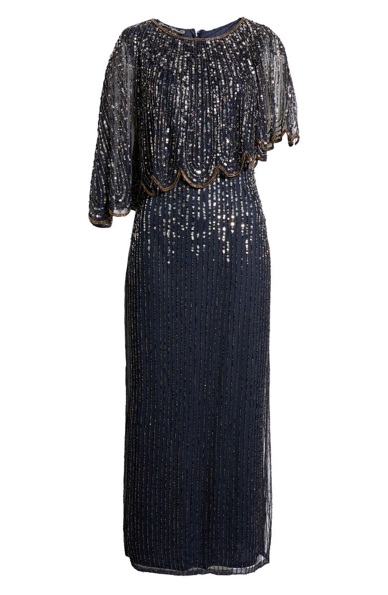Flapper Outfit: How to Dress Like a 20s Flapper Girl Sequin & Bead Cape Bodice Gown  AT vintagedancer.com