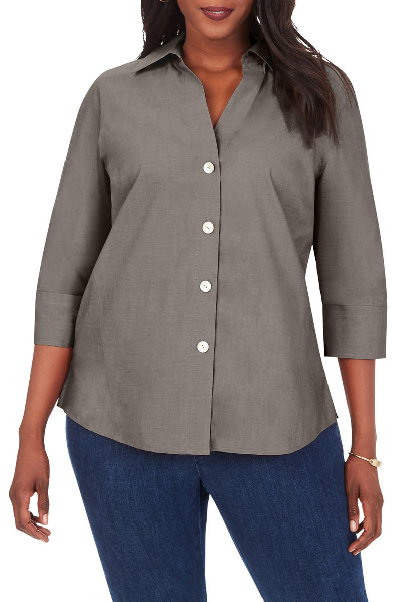 FOXCROFT Paige Button-Up Shirt, Main, color, CHARCOAL