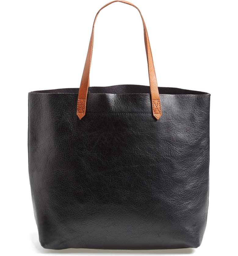 MADEWELL The Transport Leather Tote, Main, color, TRUE BLACK