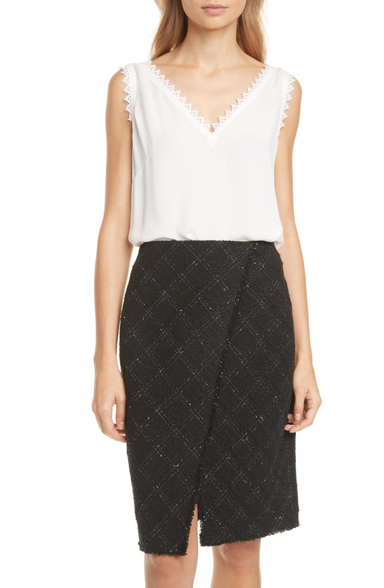 TAILORED BY REBECCA TAYLOR Lace Detail Silk Tank, Main, color, 115
