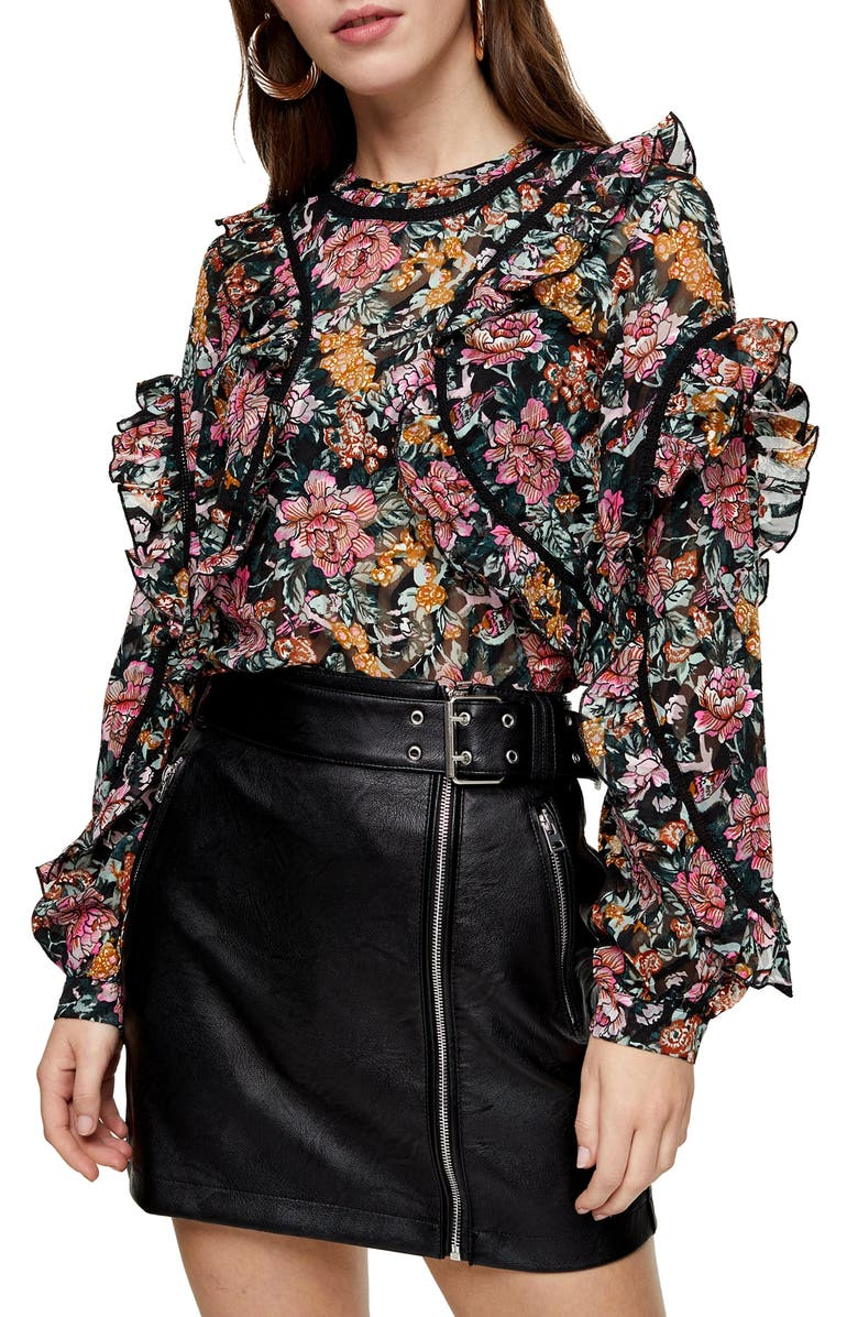TOPSHOP Floral Ruffle Blouse, Main, color, 001