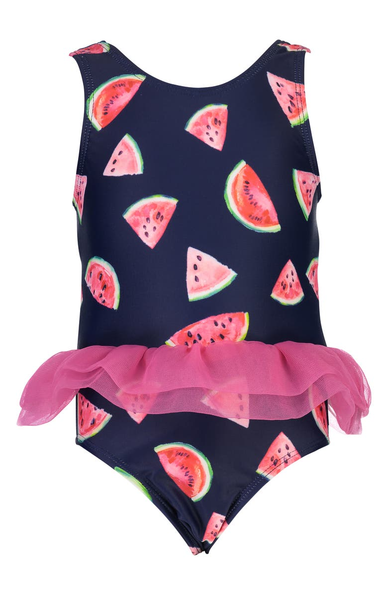 SNAPPER ROCK Skirted Watermelon Print One-Piece Swimsuit, Main, color, BERRY/ NAVY/ WHITE