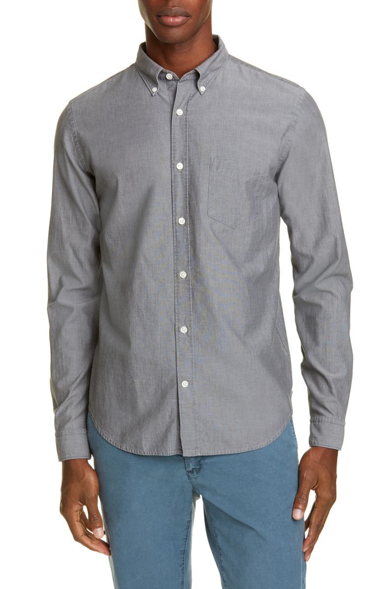CLOSED Chambray Button-Down Shirt, Main, color, CEMENT
