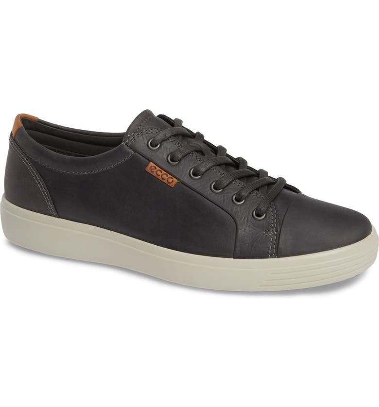ECCO Soft VII Lace-Up Sneaker, Main, color, GREY OILED NUBUCK