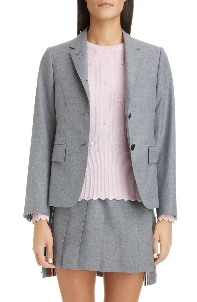 THOM BROWNE Shrunken Wool Blend Blazer, Main, color, 035