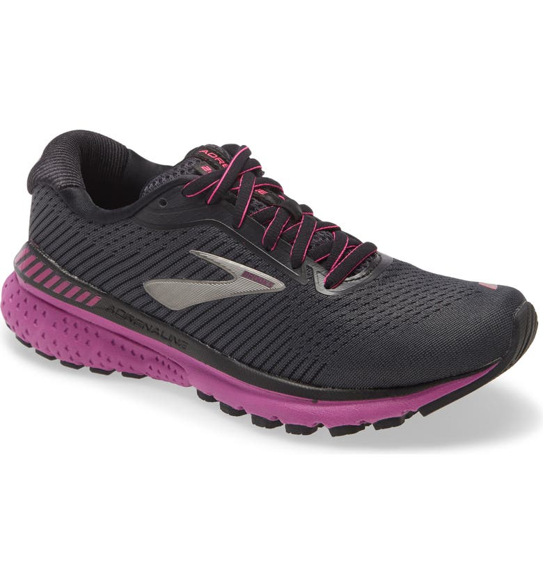 BROOKS Adrenaline GTS 20 Running Shoe, Main, color, EBONY/ BLACK/ HOLLYHOCK