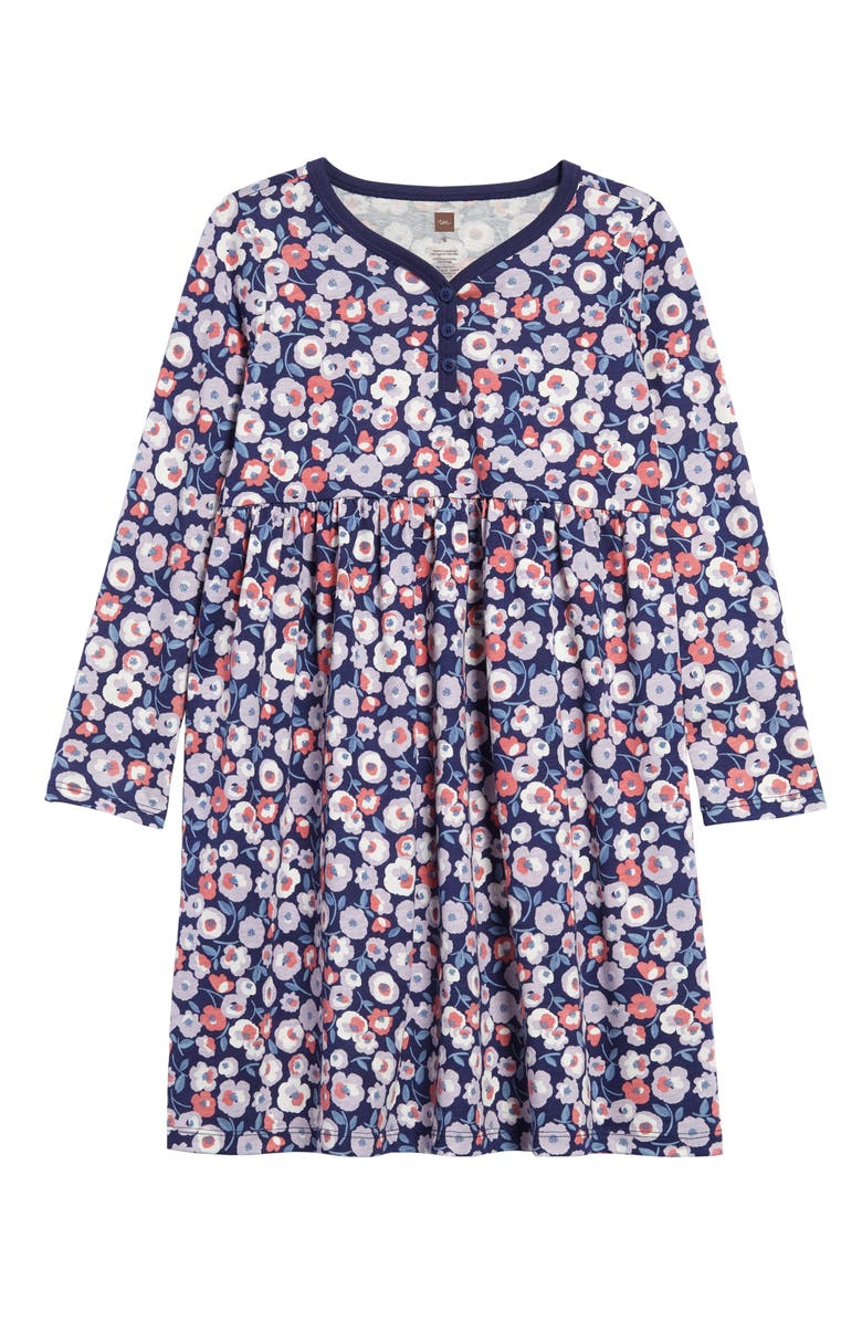 TEA COLLECTION Flower Print Henley Dress, Main, color, 403