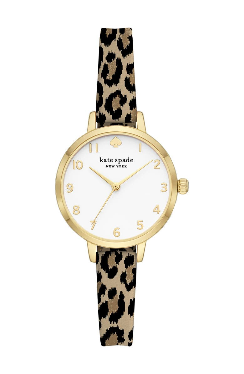 KATE SPADE NEW YORK women's metro leopard print silicone strap watch, 30mm, Main, color, LEOPARD