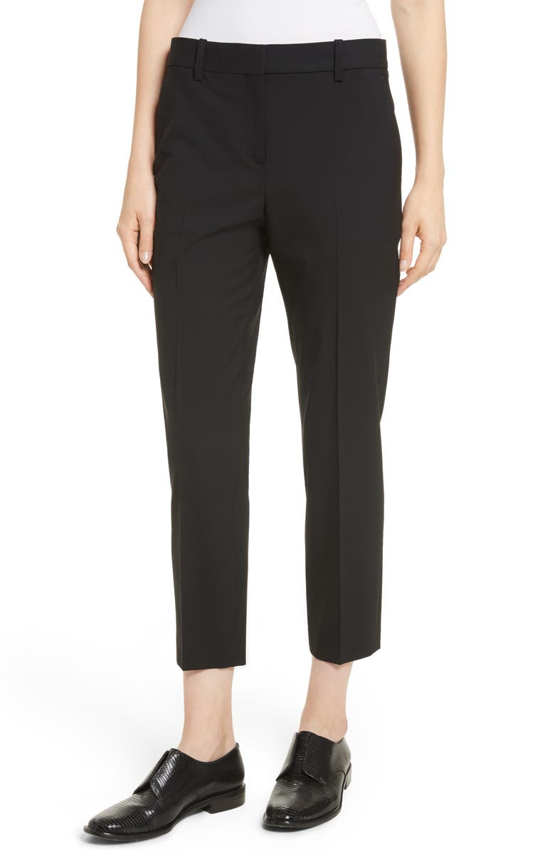 THEORY Treeca 2 Good Wool Crop Suit Pants, Main, color, BLACK