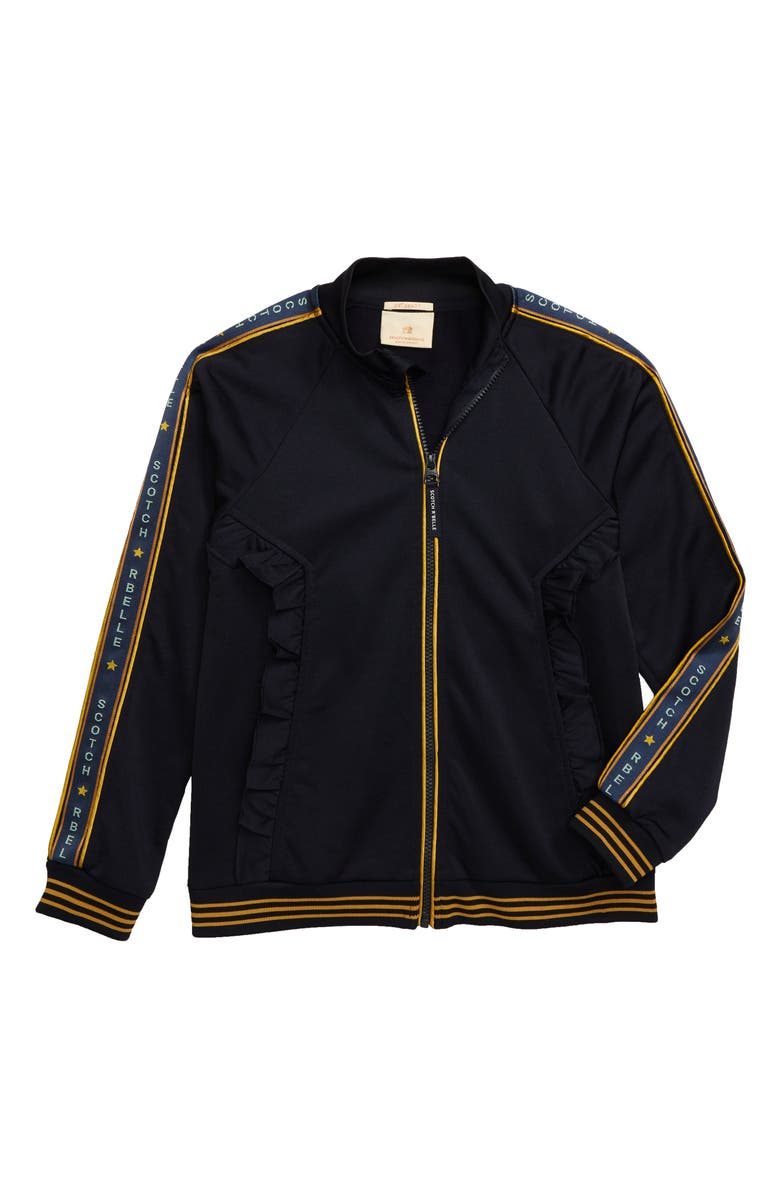 SCOTCH R'BELLE Ruffle Track Jacket, Main, color, 001