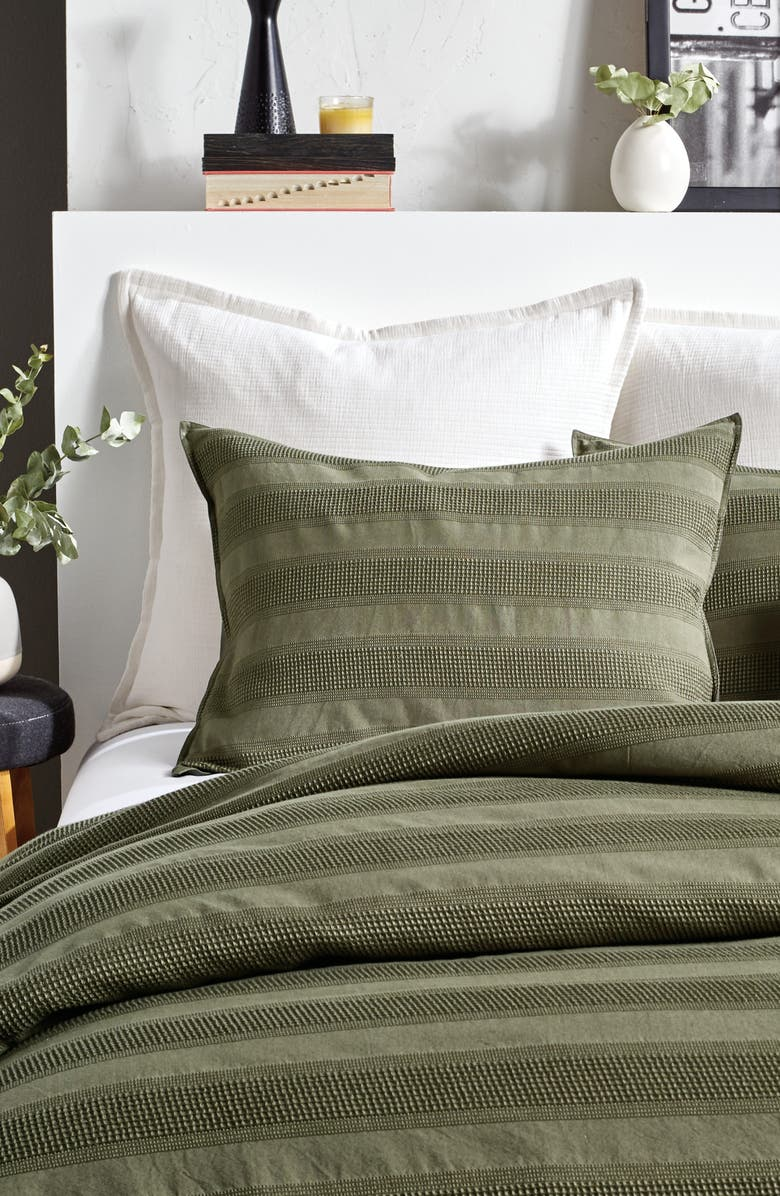 DKNY Avenue Stripe Cotton Duvet Cover & Shams Set, Main, color, OLIVE