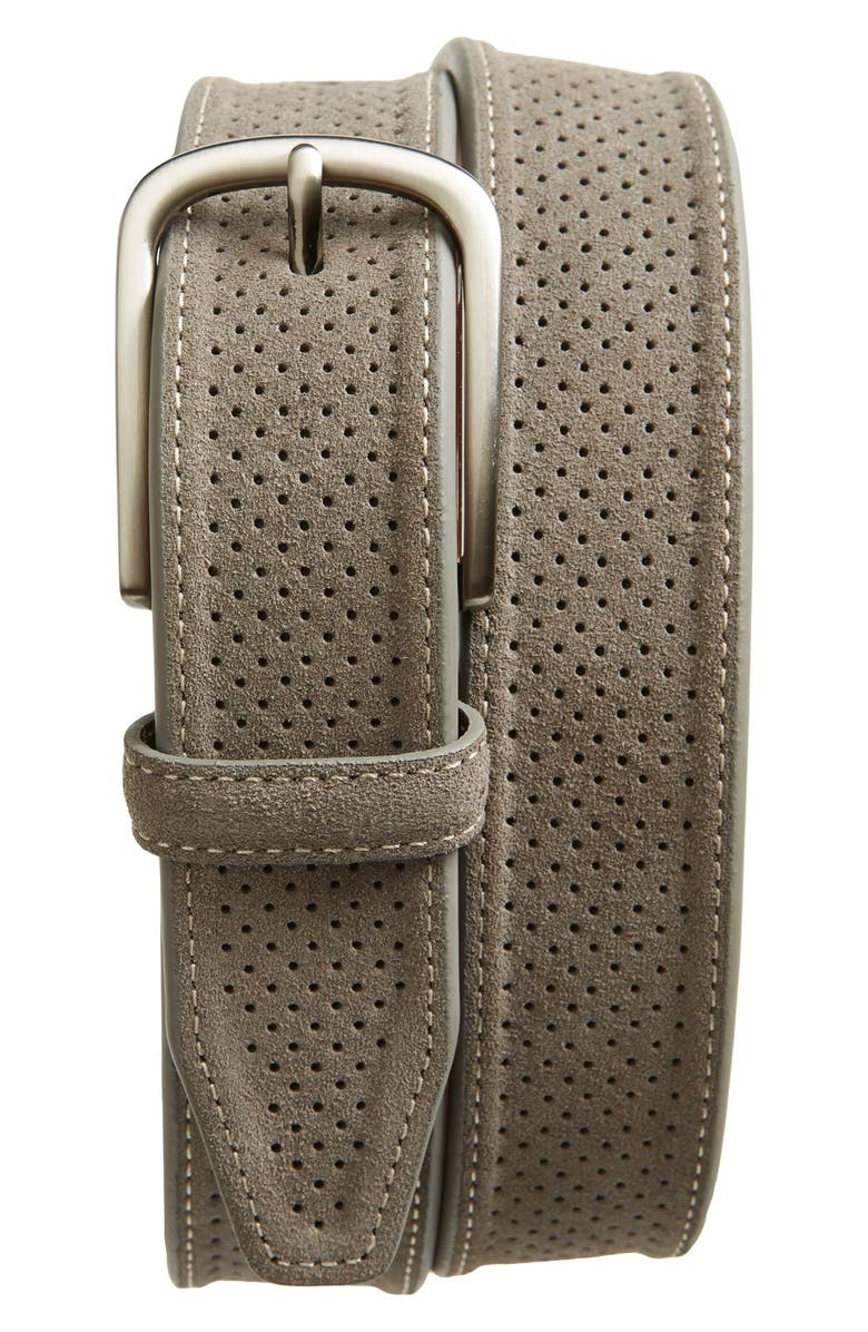 JOHNSTON & MURPHY Perforated Suede Belt, Main, color, Grey