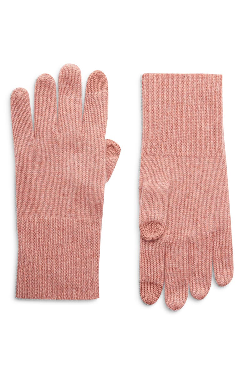HALOGEN<SUP>®</SUP> Cashmere Tech Gloves, Main, color, PINK ROSECLOUD HEATHER