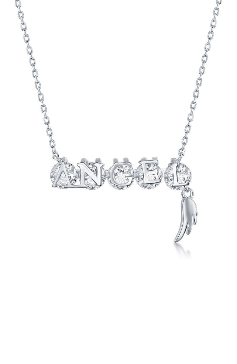 SIMONA Sterling Silver CZ Angel Necklace, Main, color, SILVER