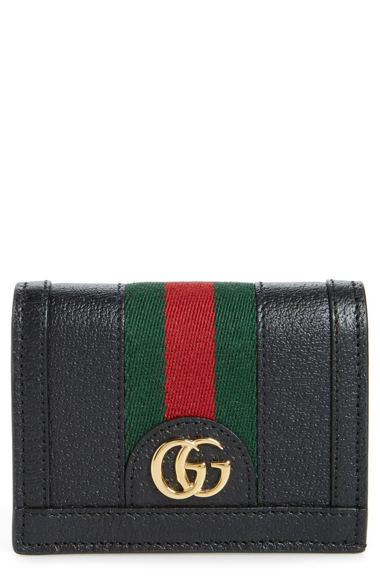 GUCCI Ophidia Leather Bifold Card Case, Main, color, 001