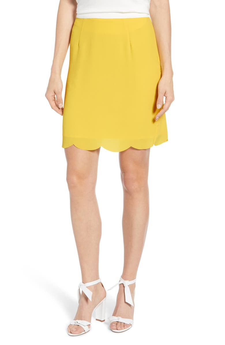 GIBSONLOOK Gibson x Living in Yellow Daphne Scallop Hem Skirt, Main, color, 741