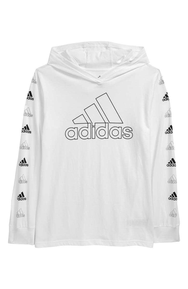 ADIDAS Kids' BOS Hooded Graphic Tee, Main, color, 100