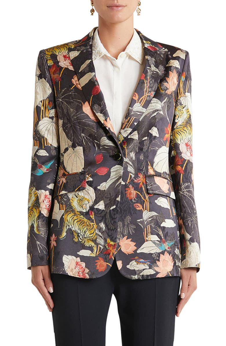 ETRO Panarea Floral Metallic Brocade Blazer, Main, color, Black