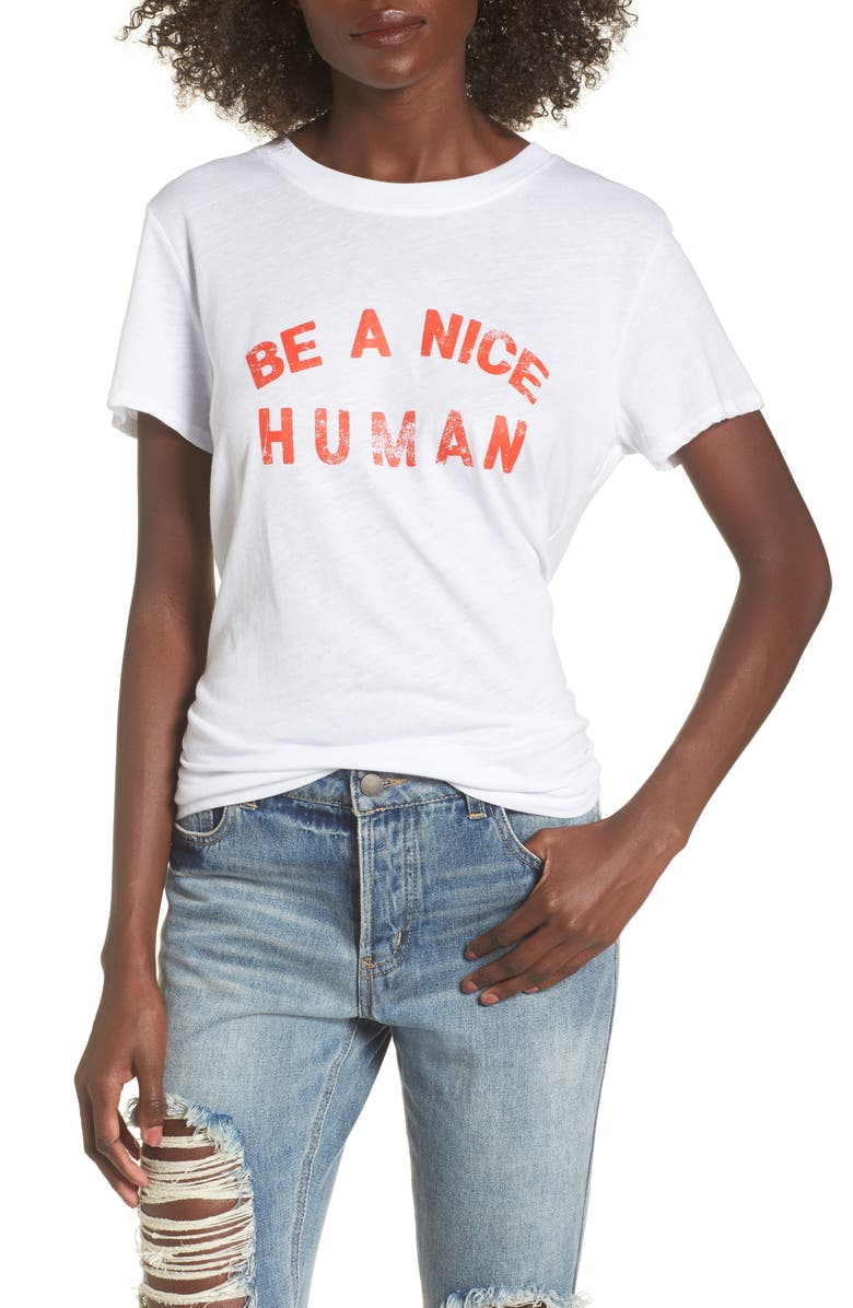 SUB_URBAN RIOT Be A Nice Human Tee, Main, color, WHITE
