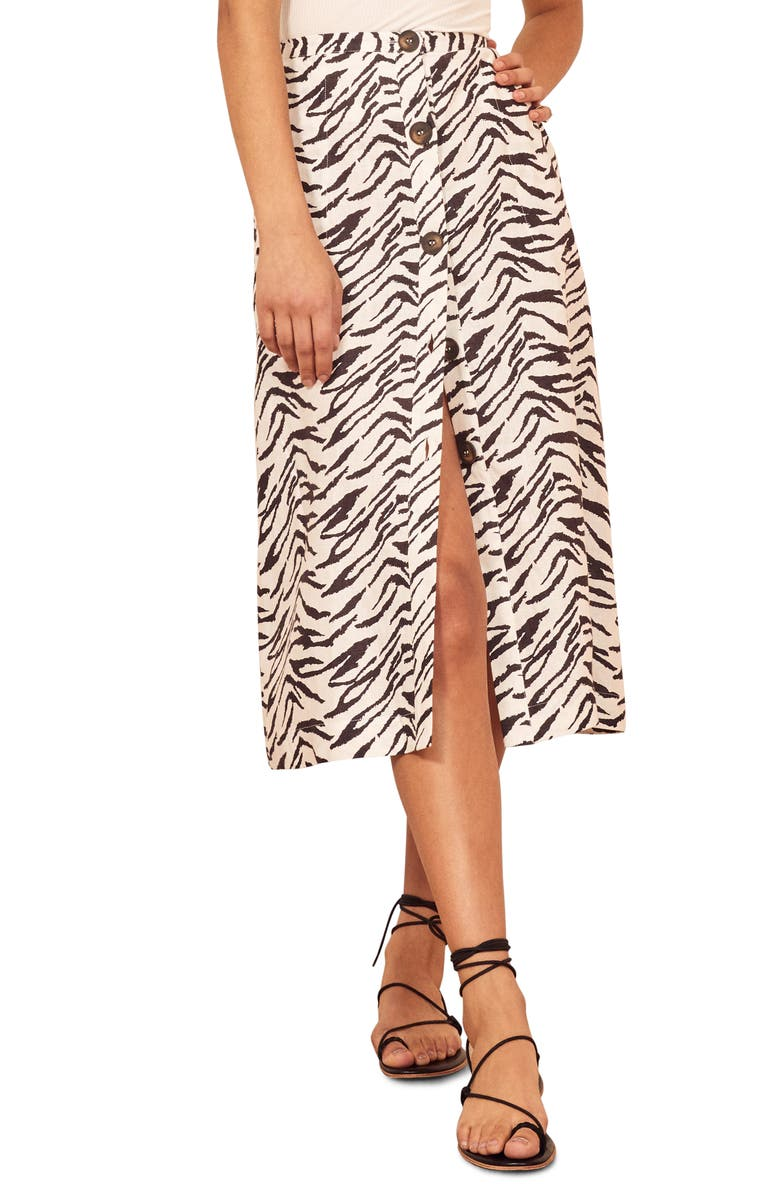 REFORMATION Highland Button Front Midi Skirt, Main, color, 001