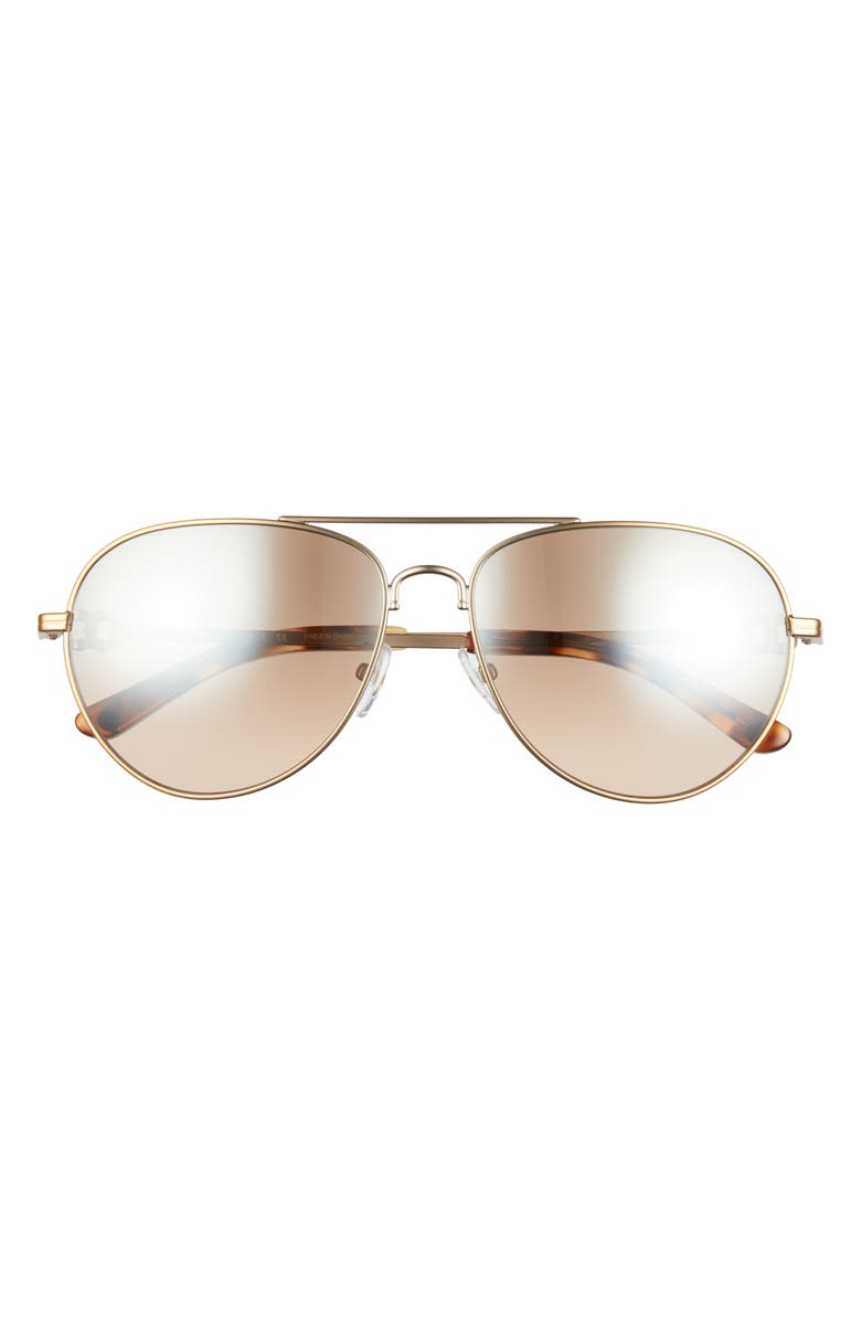 TORY BURCH 58mm Pilot Sunglasses, Main, color, GOLD BROWN/ BROWN SILVER