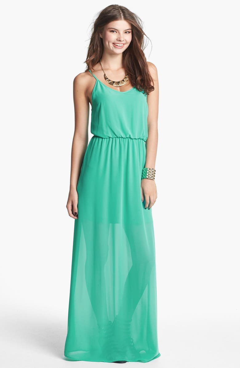 ALL IN FAVOR Bar Back Maxi Dress, Main, color, PEPPERMINT