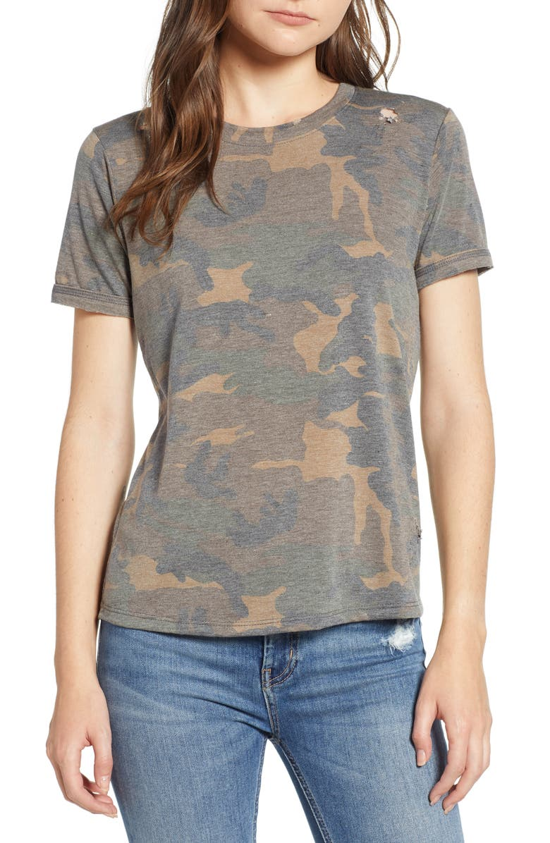 PRINCE PETER Distressed Camo Tee, Main, color, ARMY