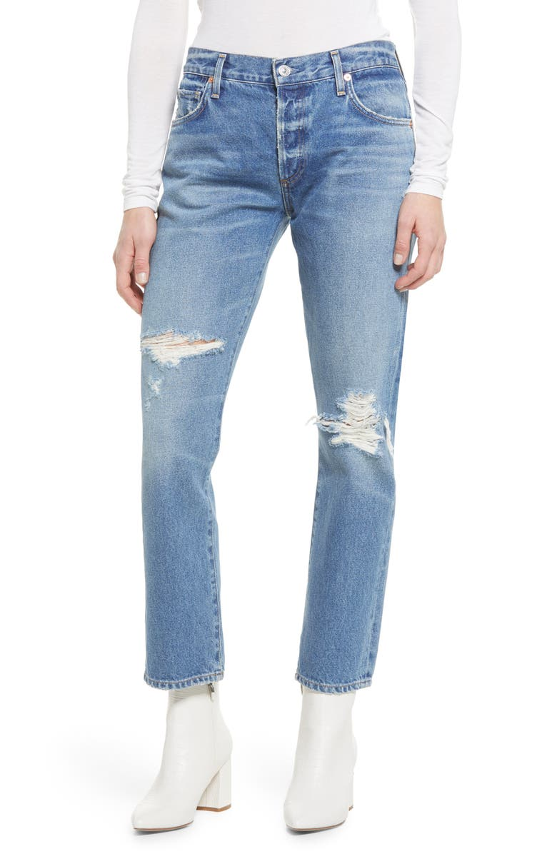 CITIZENS OF HUMANITY Emerson Ripped Slim Fit Boyfriend Ankle Jeans, Main, color, TEASE