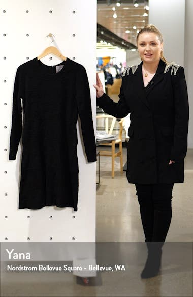 Tonal Jacquard Long Sleeve Tiered Wool Blend Dress, sales video thumbnail