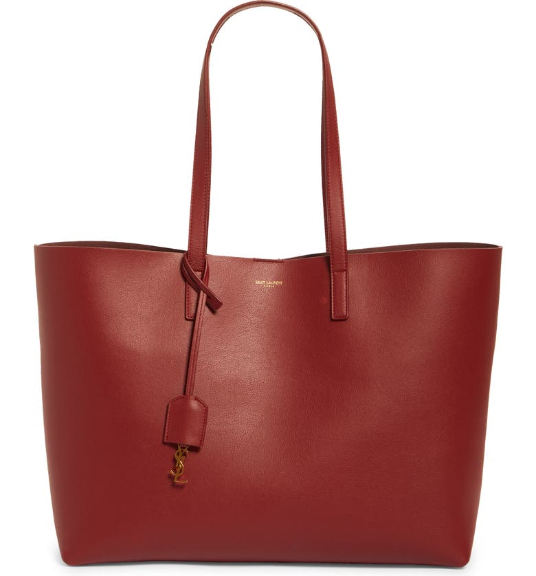 SAINT LAURENT Shopping Leather Tote, Main, color, OPYUM RED