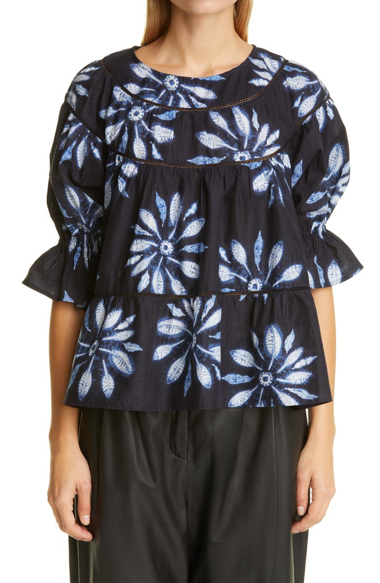 MERLETTE Sol Tiered Pima Cotton Top, Main, color, NAVY / FLORAL PRINT