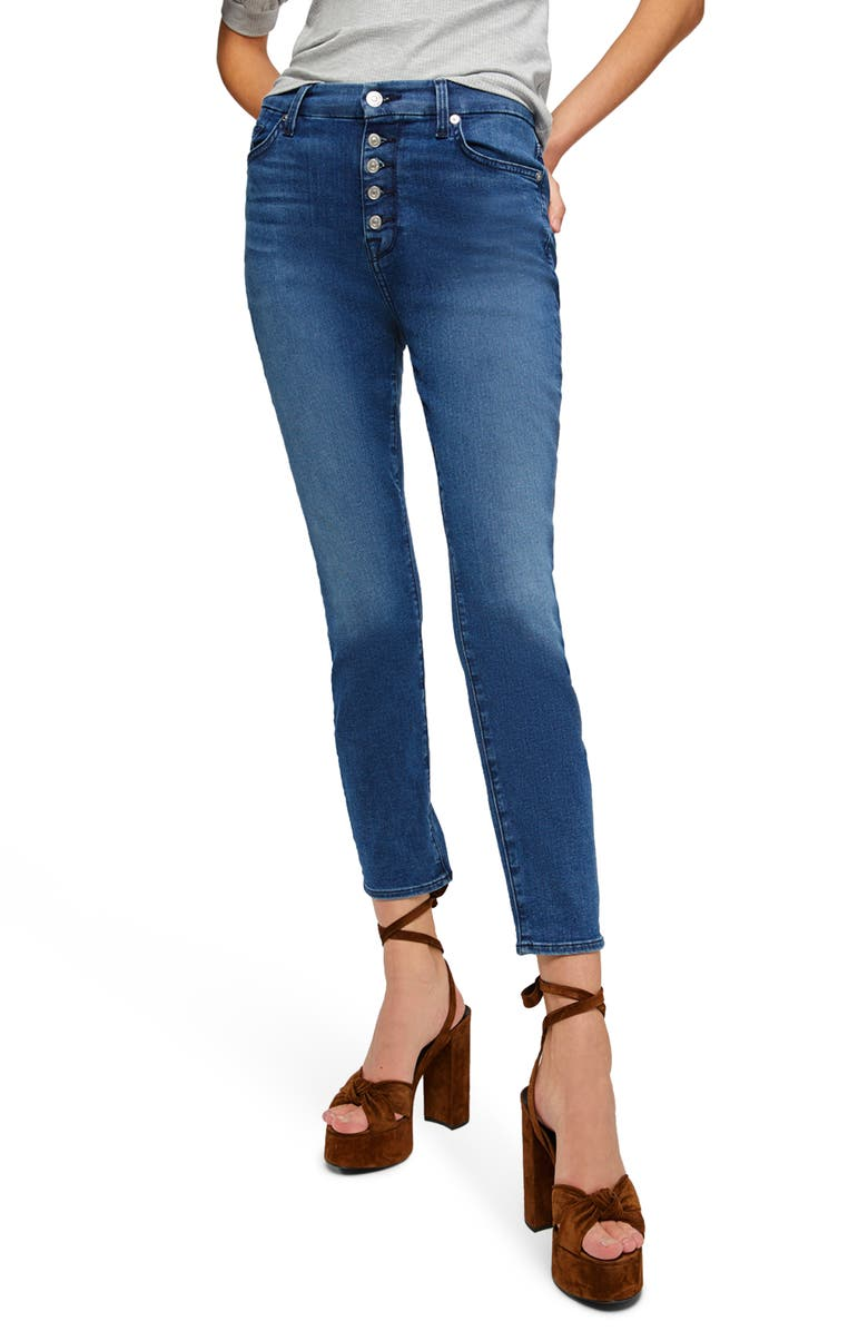 7 FOR ALL MANKIND<SUP>®</SUP> High Waist Ankle Skinny Jeans, Main, color, PEACE BLUE