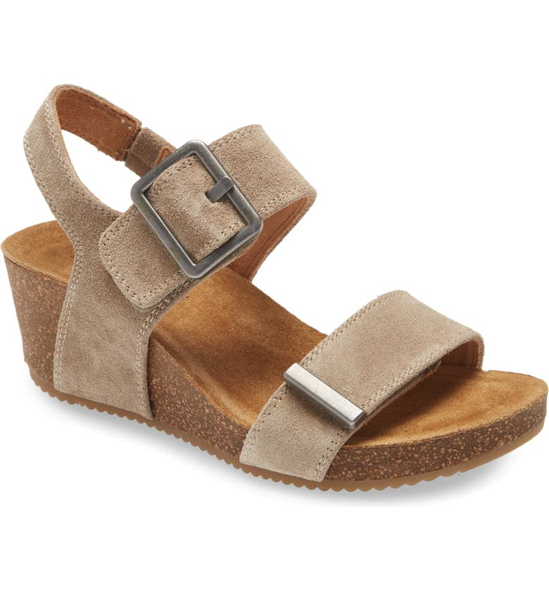 COMFORTIVA Emberly Wedge Sandal, Main, color, LIGHT TAUPE SUEDE